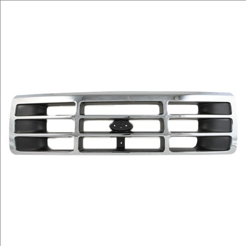 Grid Chrome Plated (CarPartsDepot, Chrome Plated Plastic Frame Front Grille Dark Gray Inner Cross Bar Grid, 400-18128-CP FO1200173 F4TZ8200A)