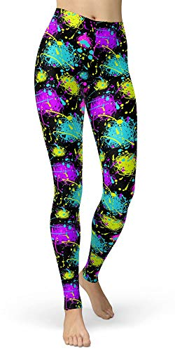 Women's Artistic Splash Printed Leggings Brushed Buttery Soft Pants Regular and Plus Size (One Size (S-L/Size 2-12), Neon Splatter) -