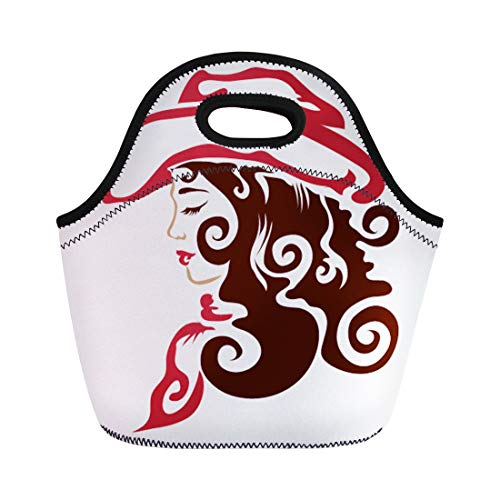 Semtomn Neoprene Lunch Tote Bag Cowboy Cowgirl Western Tribal Hat Original Tattoo Wild West Reusable Cooler Bags Insulated Thermal Picnic Handbag for Travel,School,Outdoors, Work]()
