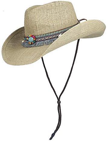 夏のファッション屋外ビーチ麦わら帽子スプレーペイントユニセックス男性パナマスタイルカウボーイカウガールハット大つばSunhat Sunhat ビーチ帽子 (色 : ナチュラル, サイズ : 56-58)