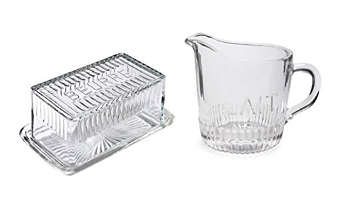 Depression Style Glass Butter Dish with Cover