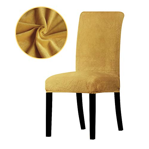 (YZFZP Dining Room Hotel Fabric Velvet Stretch Chair Slipcover Golden 6 Pieces)