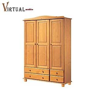 Virtualmobles armario 3 puertas pino color miel - Puertas color pino ...