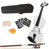 Mendini 15-Inch MA-White Solid Wood Viola with Case, Bow, Rosin, Bridge and Strings