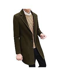 Men's Down Coats, Male Formal Single Breasted Figuring Overcoat Long Wool Jacket Outwear Plus