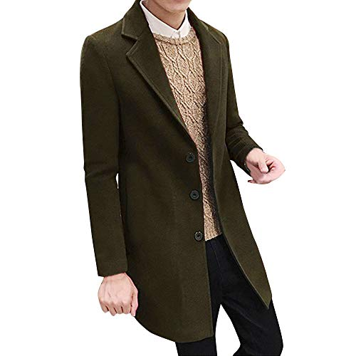 (WUAI Mens Trench Coat Formal Business Single Breasted Fashion Wool Warm-up Plus Size Oversized Jacket Outwear Overcoat(Green,US Size 3XL = Tag 4XL))