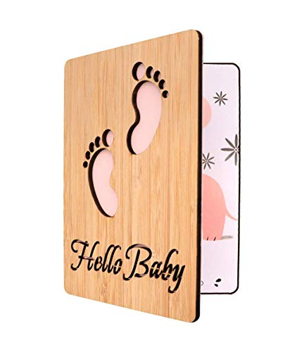 - Handmade Real Bamboo New Baby Congratulations,Baby Shower Card Girl (Tiny Feet)