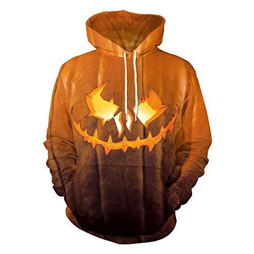 TWGONE Halloween Mens T Shirts Casual Scary Pumpkin 3D Print Party Long Sleeve Hoodie Top Blouse(US-12/CN-XL,Orange) -