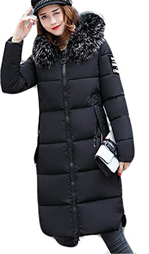 Fashion Casual Invierno Largos Con Piel Abrigo Espesar Acolchado Ropa Schwarz Manga Elegantes Capucha Larga Parka Plumas De Termica Mujer Pluma Stwxdvqv
