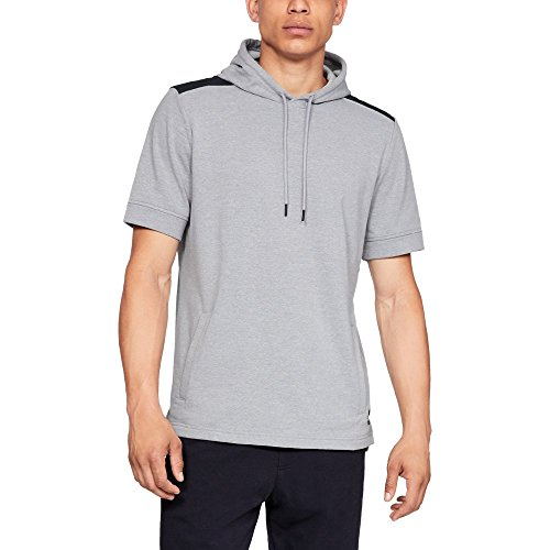 (Under Armour Men's Threadborne Terry short sleeve Hoody, Steel Light Heather (035)/Black, X-Large)