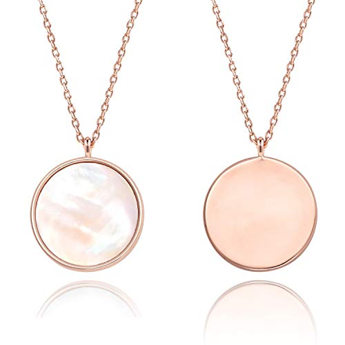 COZLANE Round Pendant Double Sided Necklace Rose Gold Mother of Pearl Shell Necklace for Women Girls ()