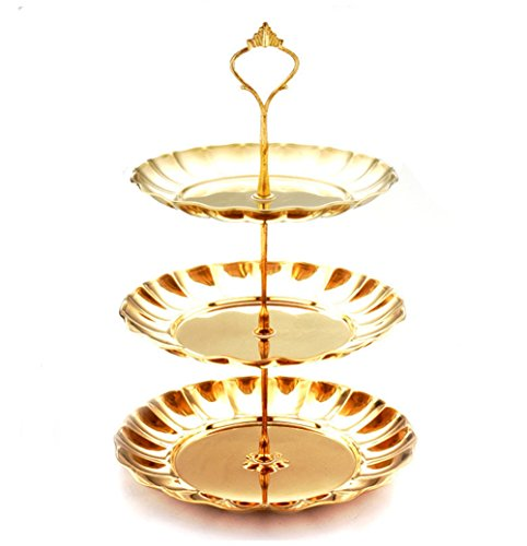 Freedi Stainless Steel Plates Stand Fruits Cakes Desserts Candy Buffet Stand Plate Dish Tower for Wedding &Home&Party (3-Tier, Gold)