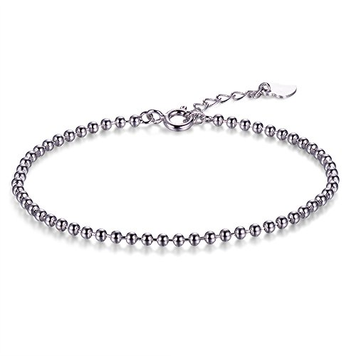 Silver Bracelet Plated Beaded - Lemon Grass Rhodium Plated Sterling Silver 2.5mm Beaded Ball Chain Bracelet 7''Lobster Clasp