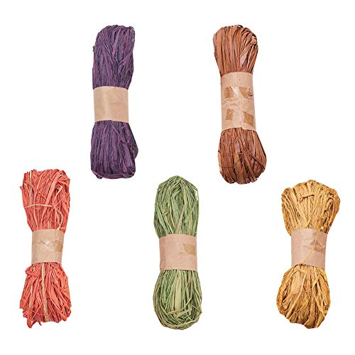 WANDIC Dyed Raffia, 5 Rolls Raffia Twine String Ribbon for Craft, Packing, Gift Wrapping, 5 Assorted Colors