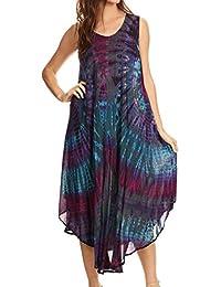 Sakkas Eula Boho Sleeveless Tie Dye Long Tank Caftan Sundress / Beach Cover Up
