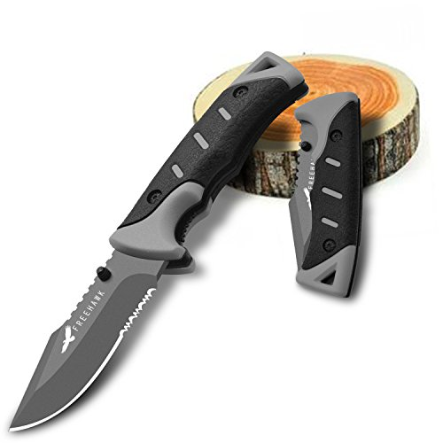 Freehawk Multi-purpose Folding Hunting Knife Survival Tactical Knife Camping Knife Folding Blade Knife Folding Sheath Knife Camping Outdoor Knife Hunting Knife Climbing Knife in Black