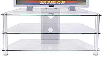 RTA Home and Office TVM-020 Clear Tempered Glass Plasma TV Stand with Wire Management for a 42 and Below TV
