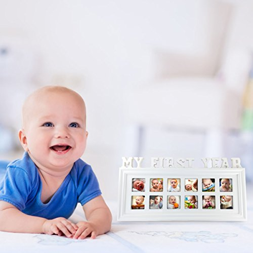 My First Year 12 Month Baby Picture Photo Frame – Capture Birth to First Birthday – Gift Unisex Keepsake Photo Collage Holds Infant Photographs by My Baby You'll Bee (Image #6)