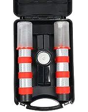 YaeTact LED Emergency Roadside Flashing Flares Safety Strobe Light - Road Warning Beacon, Magnetic Base, Detachable Stand, Storage Case (Battery Not Included)