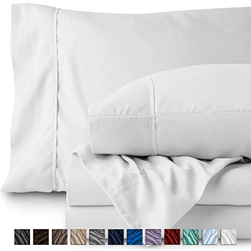 Bare Home Split Head Flex King Sheet Set - 1800 Ultra-Soft Microfiber Bed Sheets - Double Brushed Breathable Bedding - Hypoallergenic - Wrinkle Resistant - Deep Pocket (Head Split King, White) -
