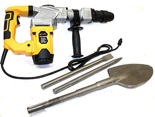 9TRADING 1300W SDS MAX ELECTRIC DEMOLITION HAMMER 4000 BPM 12A With SDS-MAX SHOVEL & CHISELS