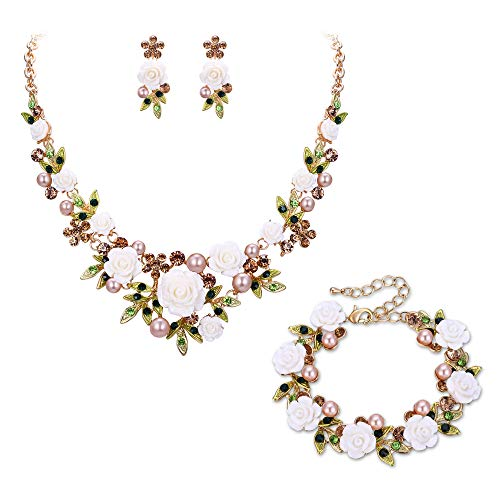 EVER FAITH Crystal Simulated Pearl Rose Flower Leaf Necklace Earrings Bracelet Set Brown Gold-Tone