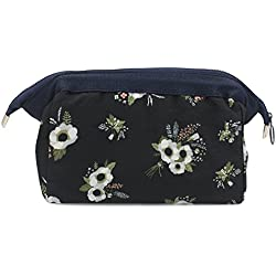 Makeup Bag/Travel Cute Cosmetic Pouch Storage/Brush Holder Toiletry Kit Fashion Women and Girl Waterproof Jewelry Organizer with Zipper Pencil Carry Case Portable Cube Purse (Navy Blue Flowers)