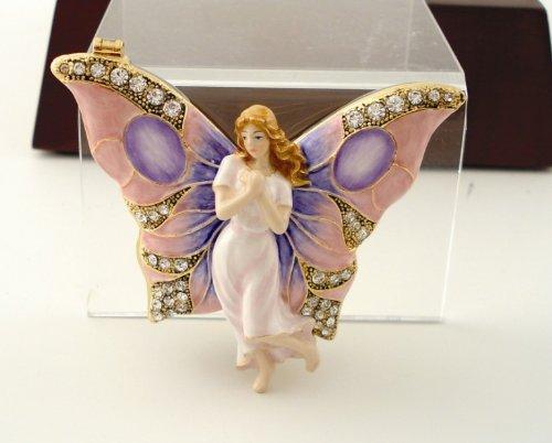 3 Inch Butterfly Winged Fairy Jeweled Jewelry/Trinket Box Figurine ()