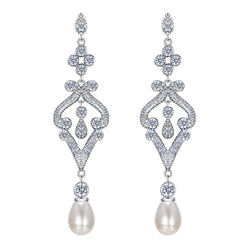 EVER FAITH Silver-Tone Pave CZ Cream Simulated Pearl Vintage Style Chandelier Dangle Earrings Clear by EVER FAITH