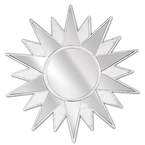 Millennium Art Framed Art Deco Sunburst Starburst Vanity Wall Mirror - White (22