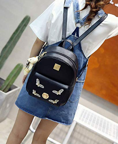 Backpack Shoulder Black Bag Woman Embroidery Fashion 4 2017 Bag Butterfly Sets Shoulder College Girl wRq8C11