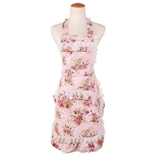 에이프런 여성용 귀여운 롱 길이 앞치마 가사로도 보육사 요리사 카페 키친 작업용 핑크 로즈 꽃무늬