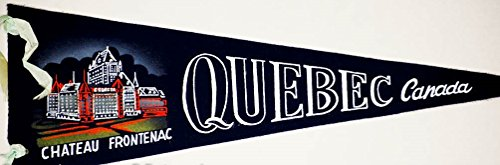 (1950's - Chateau Frontenac Quebec Canada - Vintage 7x20 Inch Pennant - Screened Wool - Dark Blue - Out of Production - Very Rare - Collectible)