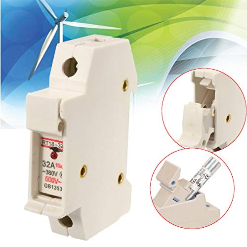 RT18-32X 380V 32A 1 Pole 10x38mm DIN Rail Mount Holder Base with LED Indicator - Electrical Gadgets & Tools Other Electrical Tools - 1 x RT18-32X Fuse Holder Base ()