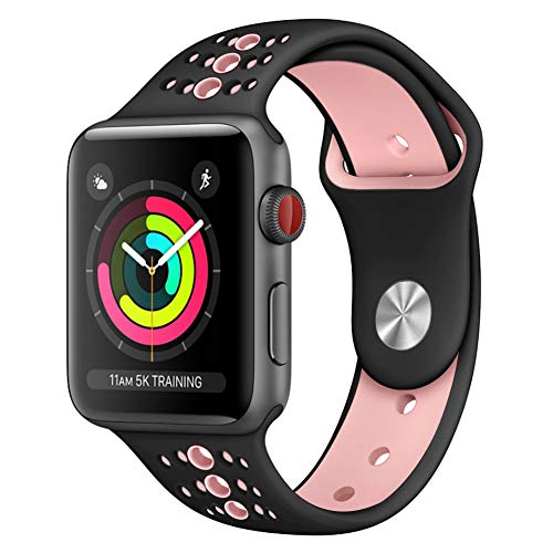 GHIJKL Sports Band Compatible Apple Watch 44mm 42mm, Soft Silicone Replacement iWatch Wristband Apple Watch Sport, Series 1, 2, 3, 4-Black/Pink-42mm, 44mm