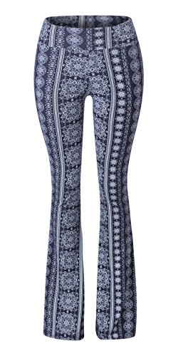 Sejora Satina High Waisted Flare Palazzo Wide Leg Pants | Printed & Solid | reg & Plus (X-Large, Chakra Blue)