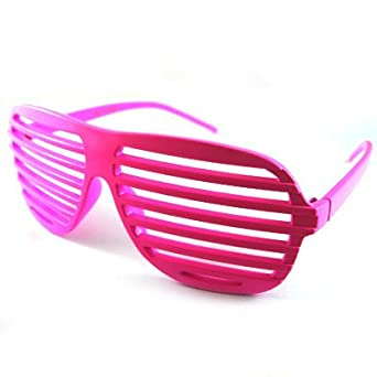 fa16b4fe662d3 Hot Pink Fashion Shutter Shades Sunglasses Novelty Fun  Amazon.co.uk   Clothing