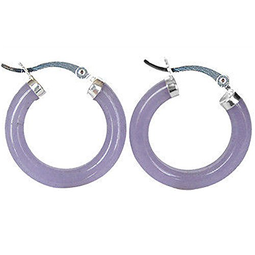 Beautiful Purple Jade 925 Sterling Silver Earring Nature for Women (Asian Purple Earrings)