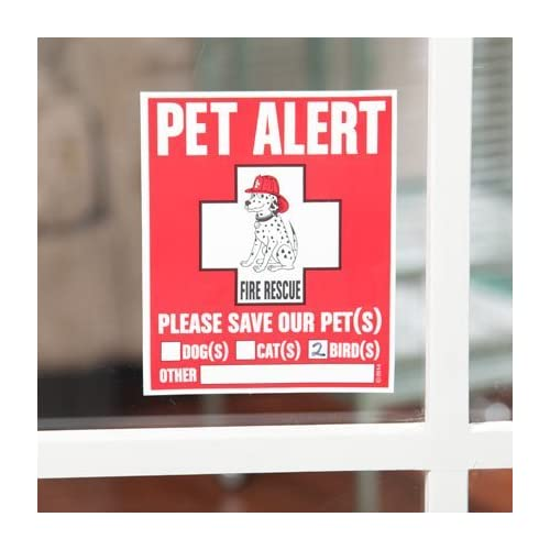 lovely Pet Inside Sticker and Pet Emergency Care Card Bundle -- (2) Vinyl Decal Pet Alert Stickers and (2) Emergency Wallet Cards