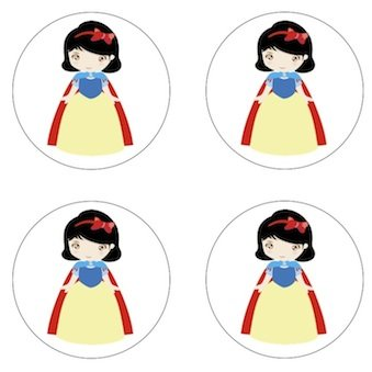 White Treats (Snow White Princess Inspired Edible Cupcake Toppers Decoration)