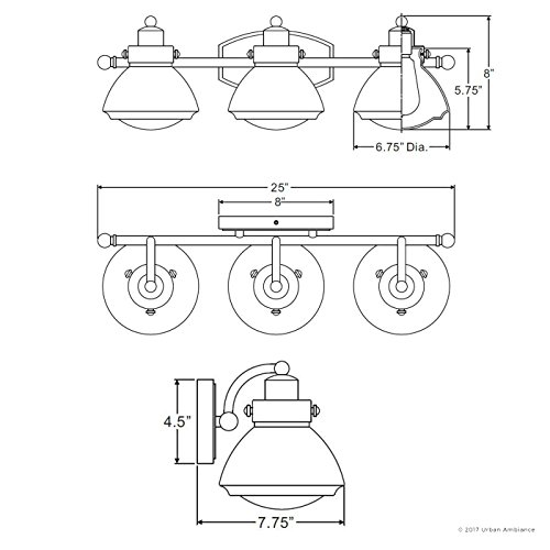 Luxury Transitional Bathroom Vanity Light, Medium Size: 8''H x 25''W, with Rustic Style Elements, Oil Rubbed Parisian Bronze Finish and Seeded Schoolhouse Glass, UQL2652 by Urban Ambiance by Urban Ambiance (Image #6)