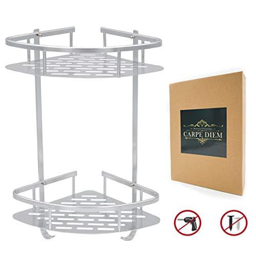 Carpe Diem shower shelf(No Drlling)Durable Aluminum 2 Tiers Shower Organizer Shower Rack Adhesive Suction Corner Shower Caddy