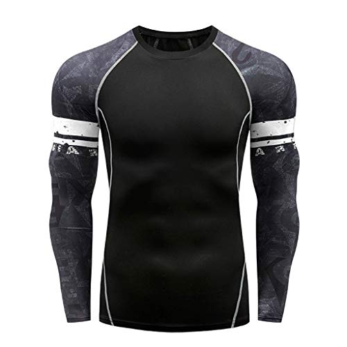 Men Compression Shirt Base Layer Long Sleeve Undershirt for Men Sport Fitness Cool Dry (L, White)