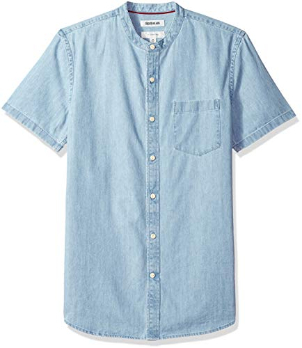 (Goodthreads Men's Slim-Fit Short-Sleeve Band-Collar Denim Shirt, -light blue, Large)