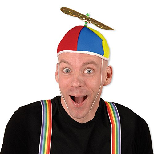 Pack of 12 Multi-Color Spinning Cyclone Propeller Beanie Party Hat ()