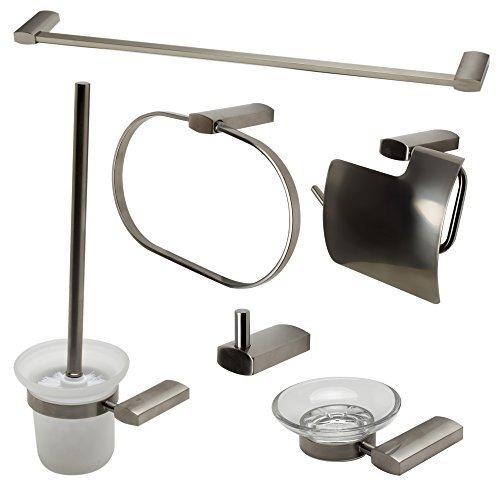 ALFI brand AB9503-BN Matching Bathroom Accessory Set (6 Piece), Brushed Nickel