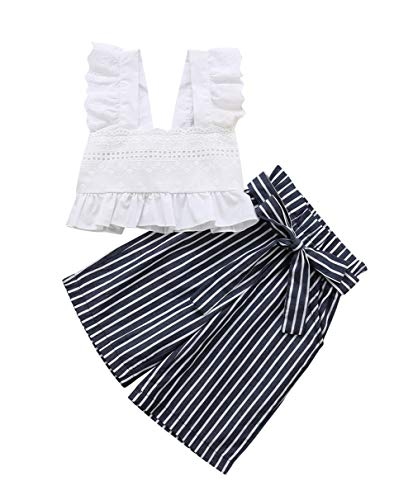 (VISGOGO 1-6 Yrs Toddler Kids Baby Girls Lace Crop Tops Sleeveless T-Shirt Striped Bow-Knot Pants Outfits Set Clothes (1-2 Years) White)
