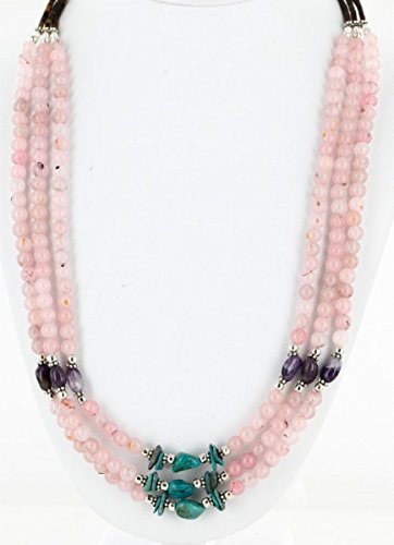 Certified Authentic 3 Strand Navajo .925 Sterling Silver Turquoise Pink Quartz and Amethyst Native American Necklace