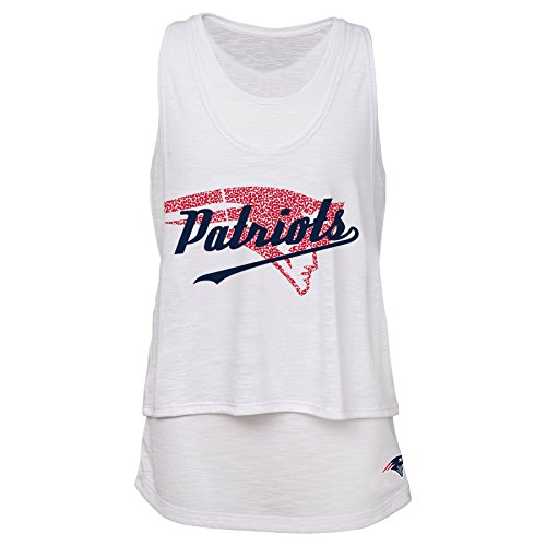 Outerstuff NFL Junior Girls Double Tier Layered Tank Top, New England Patriots, White, ()