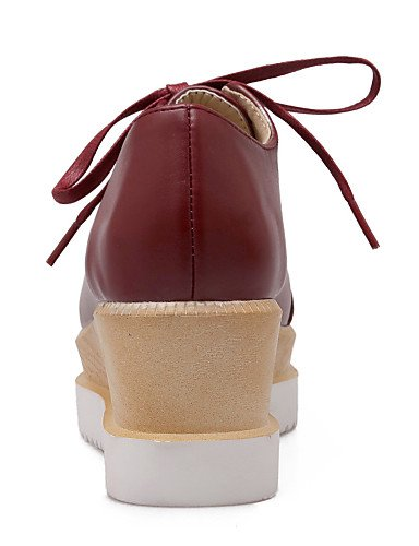 NJX/ Damenschuhe - Oxfords - Kleid - Kunstleder - Keilabsatz - Spitzschuh - Schwarz / Rosa / Rot / Beige beige-us8 / eu39 / uk6 / cn39